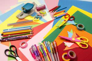 crafting supplies for a surprise birthday party